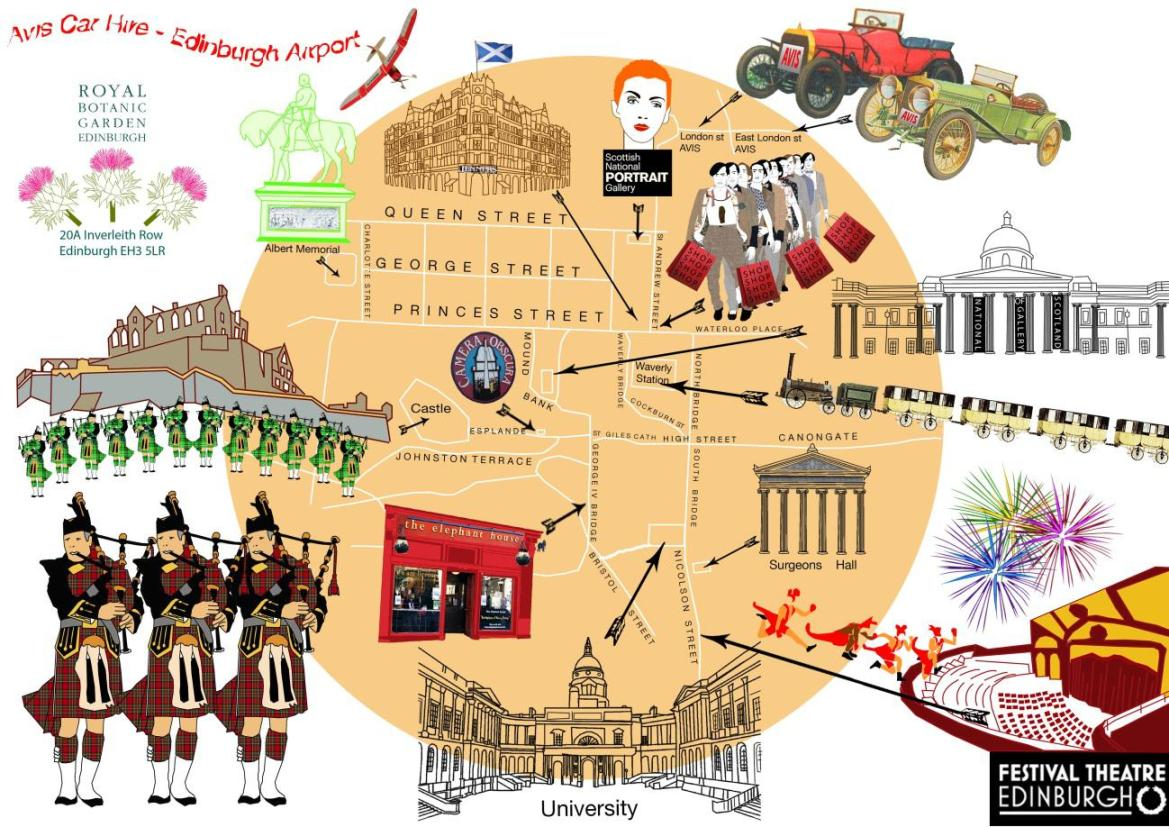 Edinburgh map by Avis