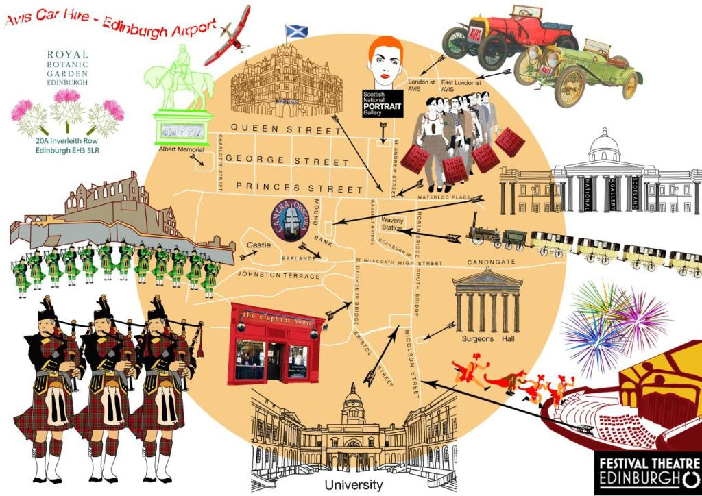 Edinburgh map by Avis