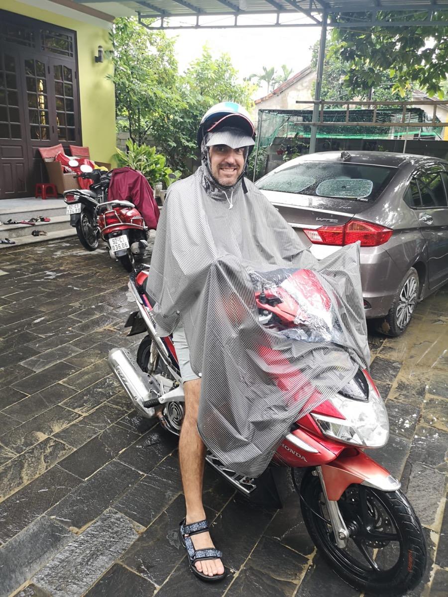 rain in hoi an motorbike