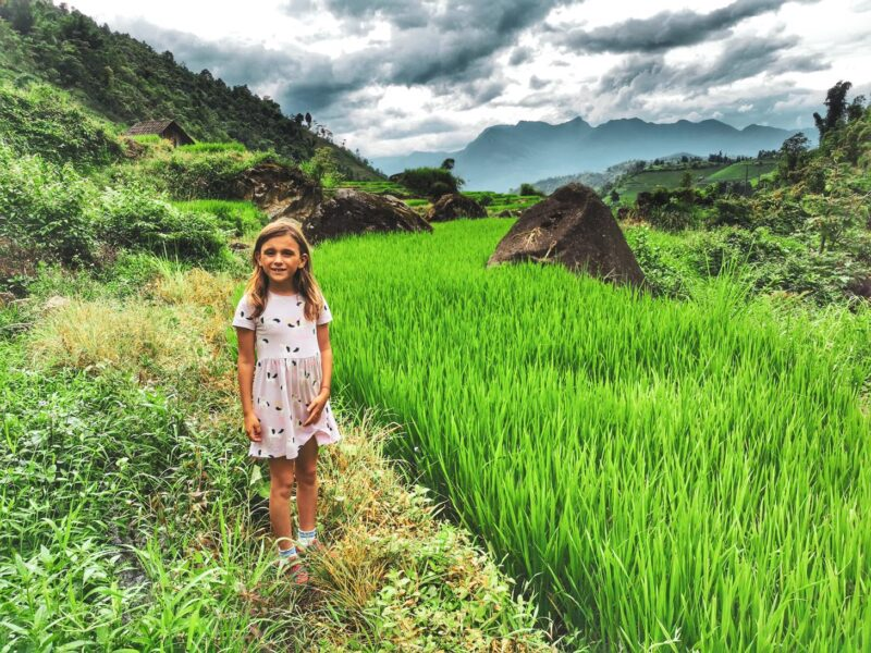Bella in the paddy fields near sapa