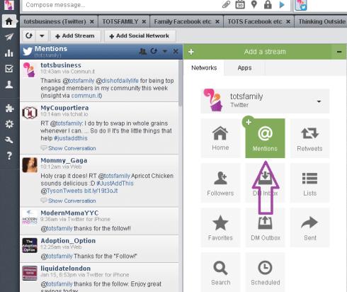 Hootsuite Add Streams