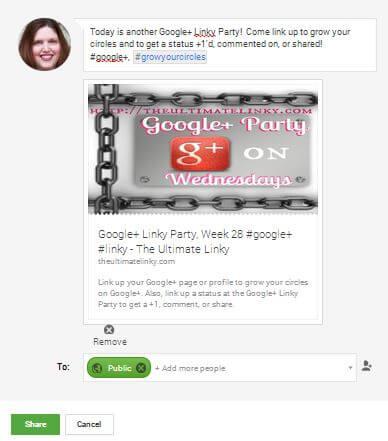 Sharing a status on Google+