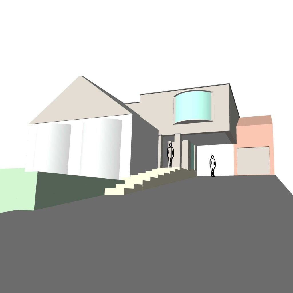 Computer generated image showing an innovative cantilever design. Wxtension of an existing family home. Soft autumnal colouring to show natural materials.