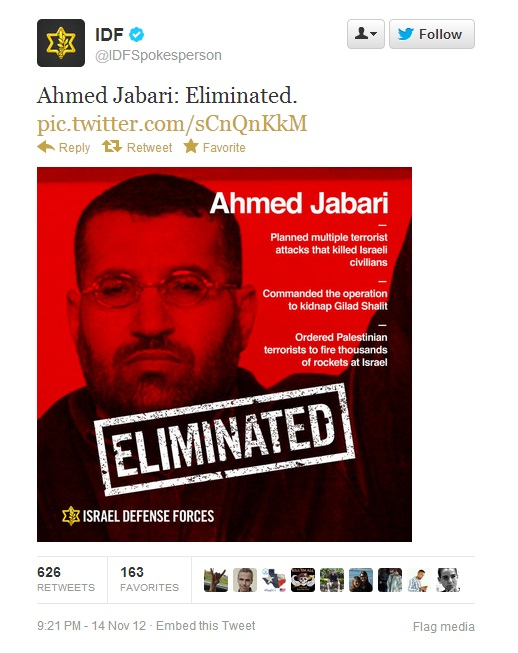 IDF tweet: Ahmed Jabari: Eliminated.