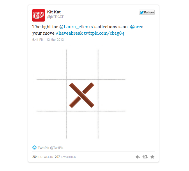 Kit Kat responded two days later, challenging Oreo to a game of tic-tac-toe