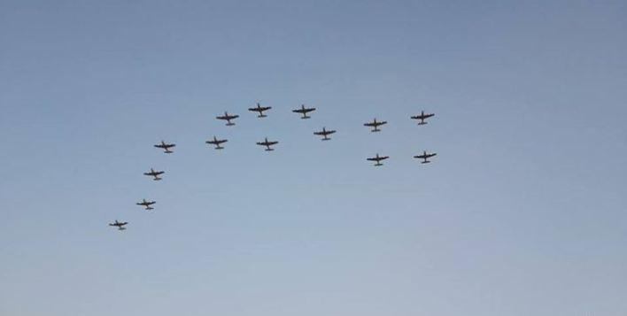 Egyptian Air Forces above Etehadiye Palace - The configuration with Egypt name in Arabic [مصر]