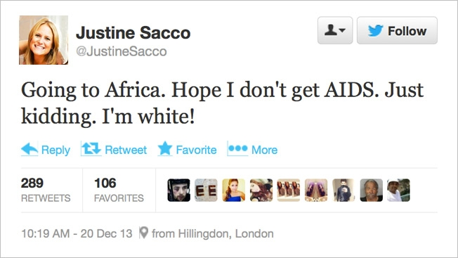 Justine Sacco offensive tweet about AIDS and race