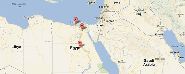 Network Location Map for Coca Cola Egypt Account on Twitter