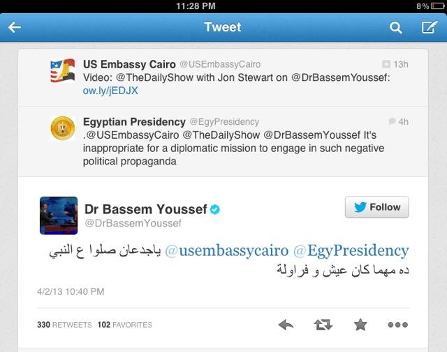 Twitter Thread : @USEmbassyCairo @TheDailyShow @DrBassemYoussef