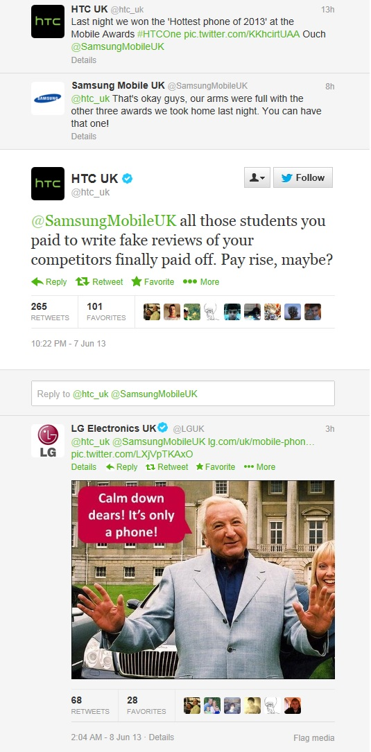 HTC UK vs Samsung Mobile UK new Twitter Fight