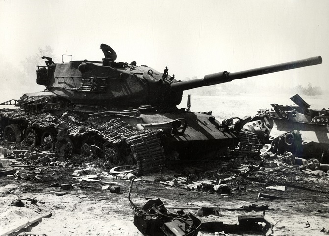 A wrecked Israeli tank during the early days of 6 October War
