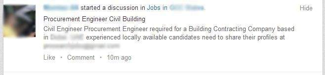 Jobs posted in LinkedIn Groups