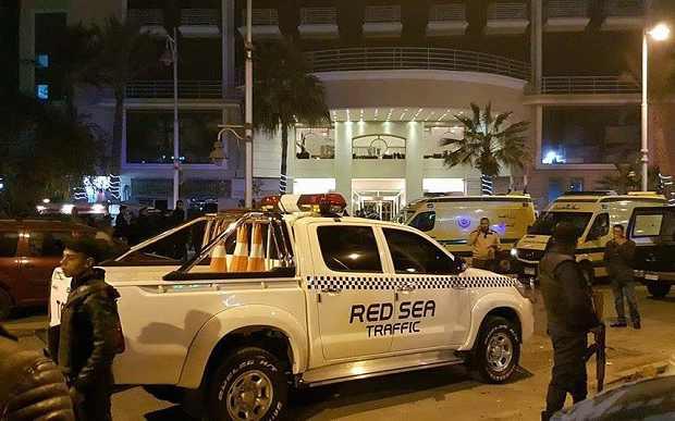 The scene outside the Bella Vista hotel in the Red Sea resort of Hurghada Photo: EPA