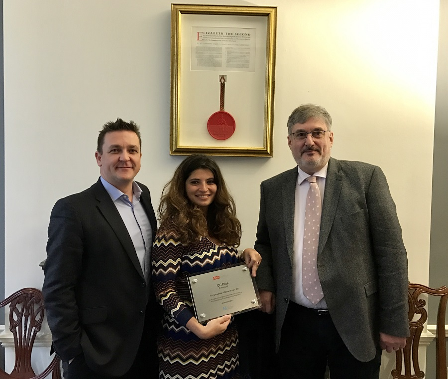 (Left to right: Jason MacKenzie Found.Chart.PR, FCIPR, CIPR President-Elect, Lamia Kamel MCIPR, Managing Director CC Plus and Alastair McCapra, Chief Executive, CEO)
