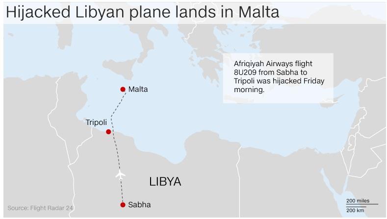 Malta hijackers surrender after releasing Libyan airliner passengers