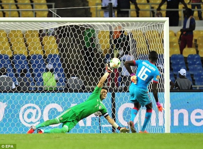 Essam El-Hadary saves a penalty for Egypt during the shootout against Burkina Faso   2017 Africa Cup of Nations