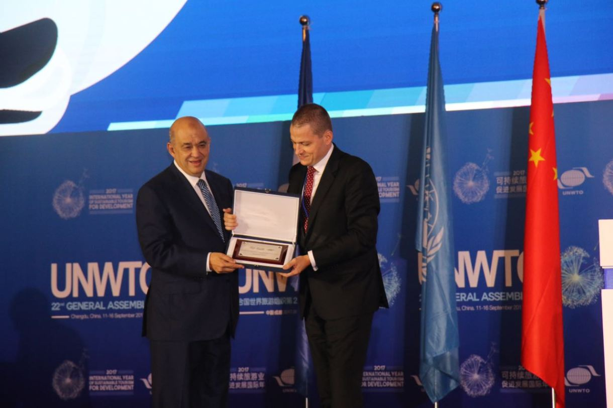 The prize was received by Egypt's tourism minister Yehya Rashed