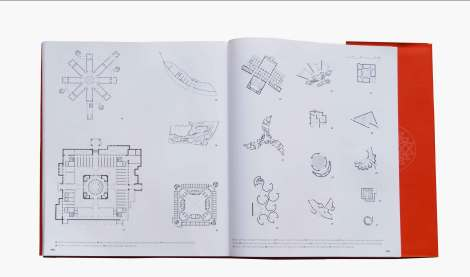 Spread from the book with comparative plans of the buildings: the incredible geometries of Christopher Benninger's Buildings.