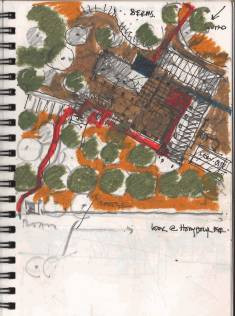 """If you see the executed design it is an evolution which revolves around this sketch"" - Karamsad House sketch by Uday Andhare, 2005"