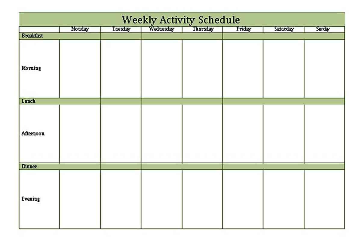 Weekly Activity Schedule Template