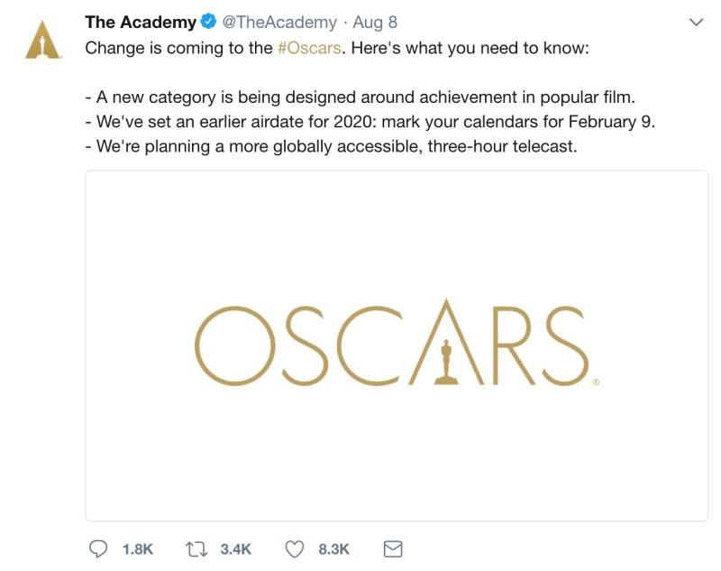 Academy Awards Aug 8 Change Tweet