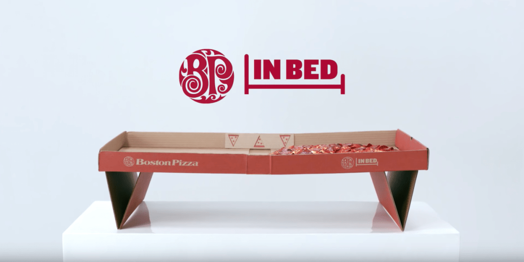 Boston Pizza packaging brings pizza eating to the bedroom