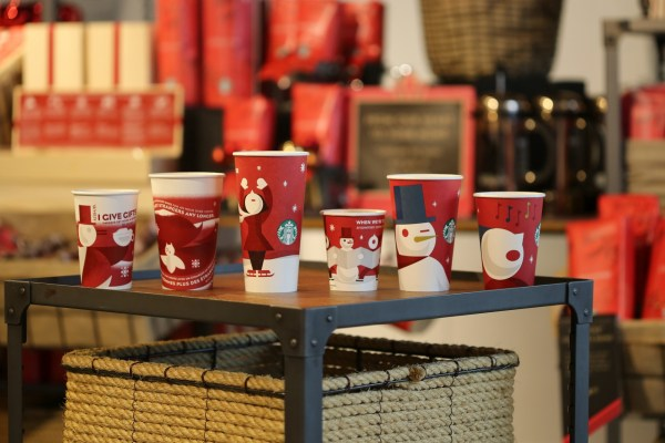 Starbucks holiday cups from years past