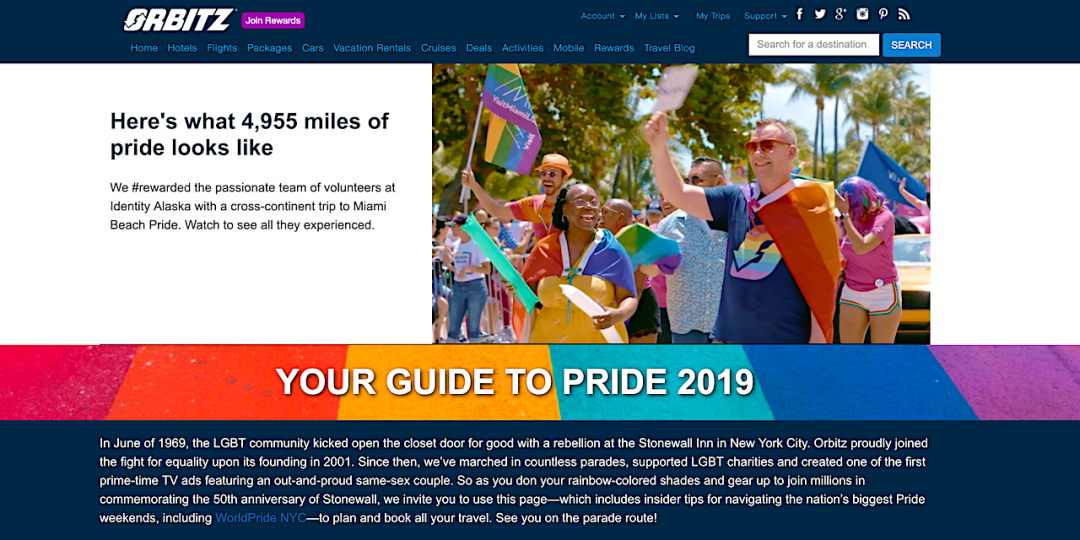 Orbitz Pride Travel Guide Website