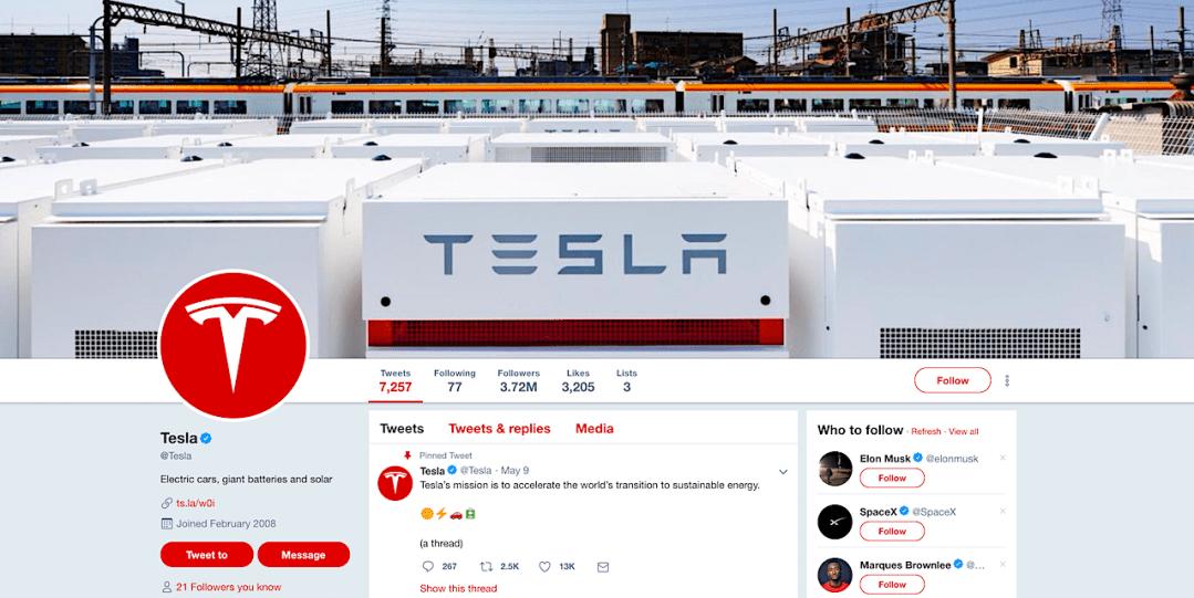 Tesla Twitter Page