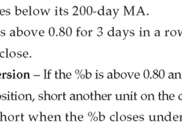 Bollinger Percent B %b rules - short