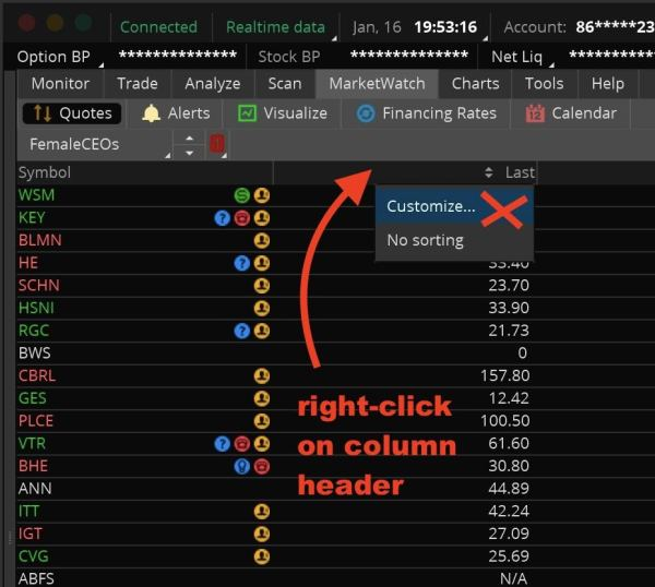 add a watchlist quote column step 1