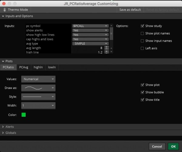 put/call ratio options screen part 1
