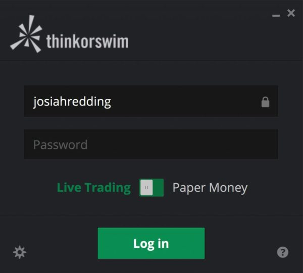 thinkorswim login screen