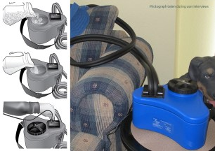 DeRoyal's original product demanded frequent refilling with ice, through a restrictive opening. Injured patients were expected to lift and turn the unit upside-down when emptying used water. Sustainability was also an issue, with the PU insulation originally being permanently sandwiched between two blow-moulded parts.