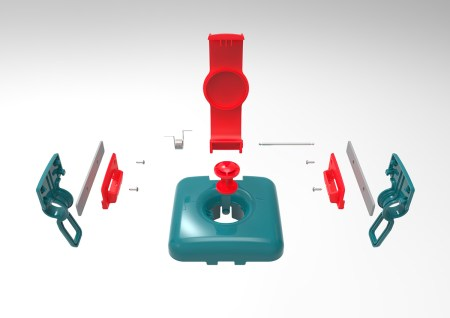 Exploded view of the mechanical assembly, excluding the fabric cover. This unit was designed to be retrofitted to an existing product in the Czech Republic.
