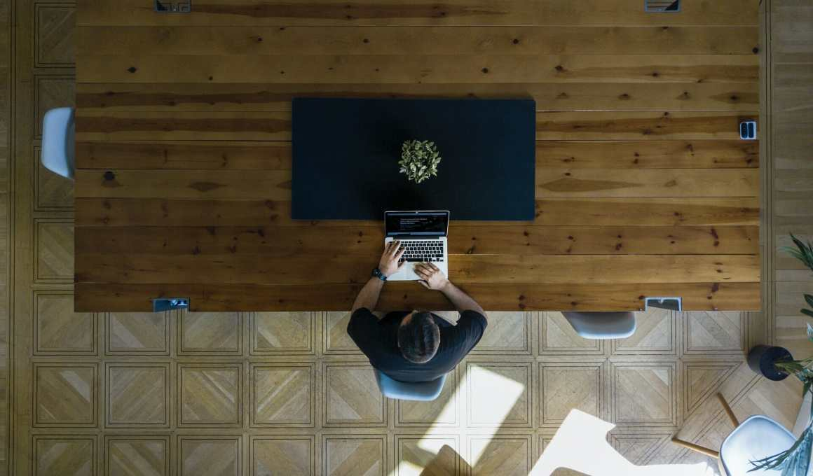 a person working in a remote working hub