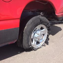 Our first road accident: Tire go boom!