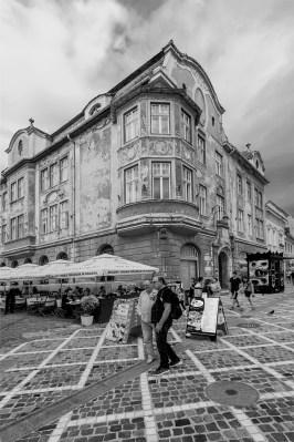 B&W old city area, brasov