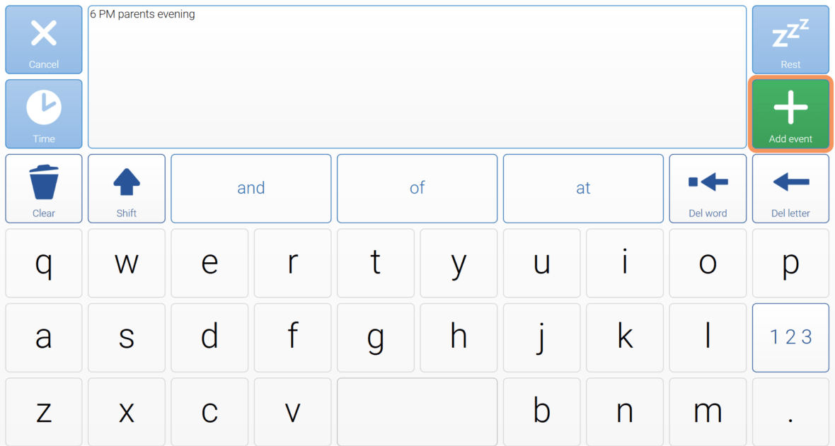 Keyboard grid to add an event