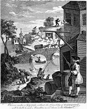 Satire on false perspective by Hogarth.