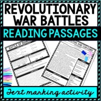 Revolutionary War Battles Reading Passages, Questions and Text Marking picture