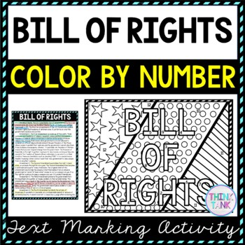 Bill of Rights Color by Number, Reading Passage and Text Marking picture