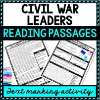 Civil War Leaders Reading Passages, Questions and Text Marking + Word Search picture