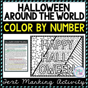 Halloween Around the World Color by Number, Reading Passage and Text Marking picture