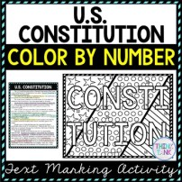 U.S. Constitution Color by Number, Reading Passage and Text Marking picture