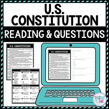 U.S. Constitution DIGITAL Reading Passage and Questions picture