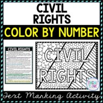 Civil Rights Color by Number, Reading Passage and Text Marking