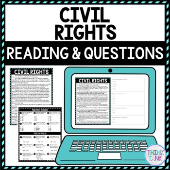 Civil Rights DIGITAL Reading Passage and Questions - Self Grading