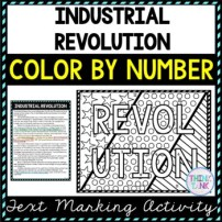 Industrial Revolution Color by Number, Reading Passage and Text Marking