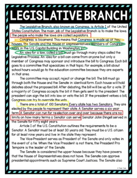Legislative Branch Color by Number, Reading Passage and Text Marking
